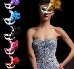 Wholesale Large Feather Masks - Halloween atmosphere dress half face peacock sequins large flower mask magic show masquerade party mask