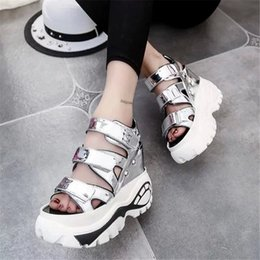 Wholesale Ladies Summer Top Medium - Summer Open Toe Gladiator Sandals Women Shoes High Top Wedges Platform Sandals Ladies Shoes White Silver Gladiator Sandals