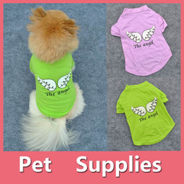 Wholesale Angels Jackets - Sweet Pets Puppy Dog Clothes Angel Wing Style T-shirt Shirt Coat Tops Clothing With 2 Colors 160919
