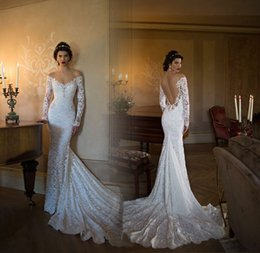 Wholesale Dress Boda - 2017 V Neck Berta Mermaid Wedding Dresses Boda Sexy Backless Long Sleeves Lace Boho Wedding Dresses Bride Dress Vestido Noiva