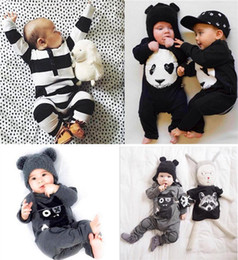 Wholesale Jumper Baby Animal - Wholesale Boys Girls Baby Onesies Cartoon Panda Long Sleeve Baby Rompers Newborn Clothing Jumpers Toddler Jumpsuits Infant Clothes