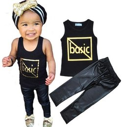 Wholesale Cotton Leather Shirts Wholesale - NWT 2016 INS Cute Baby Girls Boys Outfits Summer 2pc Sets 2piece set Cotton Tops shirt Vest + leather Harem Pants Pajamas PJ'S - Basic