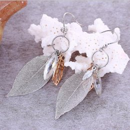 Wholesale Dangling Earrings 24k - Europe and the United States the new Korean fashion 24k gold plating natural wild temperament wild in the long section of earrings accessori