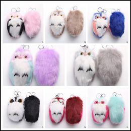 Wholesale Wholesale Owl Handbags - 8 Colors 15cm Rainbow Color Fur OWL Pendant Bag Charms Handbag Accessory Bag Charms Handbag Accessory CCA8374 50pcs
