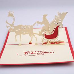 Enviar tarjetas de felicitación 3d online-Venta al por mayor Tarjetas de felicitación de Navidad hechas a mano en 3D Ciervos Coche Navidad Tarjeta de Papá Noel Tarjetas de regalo Envío gratis