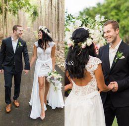 Wholesale Full Skirt Sweetheart Short Dress - Short Sleeveless Country Wedding Dresses Removable Skirt Wedding Gowns 2017 Full Lace V-neck Cap Sleeves Backless Vintage Boho Bridal Dress
