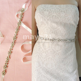 Wholesale Embellished Belts - Belt Wedding Glass Beads Belt Bridal Belt High Quality Glass And Opaline Crystal Self-Tie Sparked Skinny Sash Embellish Belt Wedding Belts