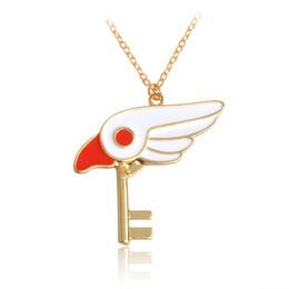Wholesale Magic Bird - Cartoon White Rabbit Star Sticks Bird Head Key Pendant Cool Necklace For Women Girl Fashion Comics Animal Magic Jewelry Gift