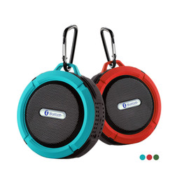 Wholesale Iphone Music Stand - Wholesale- C6 Waterproof Wireless Bluetooth Speaker For iPhone Music Player Loudspeaker Subwoofer Stereo Support TF Card With Stand Hook