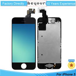 Caméra frontale iphone blanc en Ligne-Écran LCD pour iPhone 5 5S 5C Écran tactile complet de numériseur tactile avec le bouton d'accueil de la caméra frontale de remplacement noir et blanc