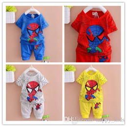 ensembles de vêtements d'été spiderman Promotion Enfants BOYS Pyjamas Set New Summer Coton Spiderman Cartoon Impression Kid Homewear manches courtes Ventiler Fashion Spring Set Vêtements