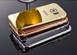 Wholesale Iphone Frame Aluminum - For iPhone 7 6 6S Plus Samsung Galaxy S8 S8Plus S7 S6 Edge Mirror Case with Gold Plating Aluminum Metal Frame ShockProof Cover