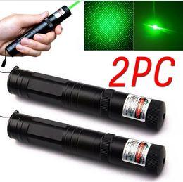 Wholesale Laser Cap Wholesale - 2PCS High Power 2in1 Lazer JD 851 Green Laser Pointer Pen Presenter Puntero Laser Beam Caneta Laser Lanterna +Star Cap