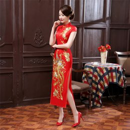 Wholesale Long Dresses China - Shanghai Story phoenix embroidery long cheongsam Dress Woman's qipao dress chinese traditional clothing China oriental dresses 3 Color