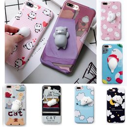 Wholesale Panda Phone Case Iphone - Squishy Cat Phone Case for iPhone X 8 for iPhone 6 6S plus 3D Soft Silicone Panda Sleeping Cat Cover for Samsung S8 S8plus Cute Phone Case