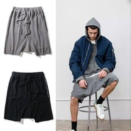 Wholesale Rock Stage - new black grey M-XL short homme hip hop justin bieber kanye rock stage clothing fear of god harem drop crotch sweat mens shorts