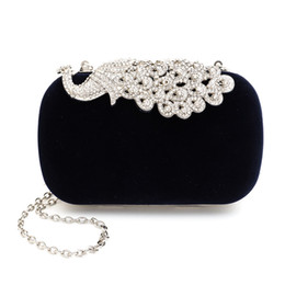 Wholesale Evening Clutch Bags Navy - 2016 Top Hot Sale Minaudiere Corduroy Evening Bags Single Korean Dinner Bag Colorful Festive Peacock Wedding Handbag 8017