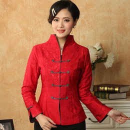 Wholesale Chinese Red Jackets - Wholesale- New Red Women's Linen Cotton Jacket Chinese Traditional Tang Suit Mandarin Collar Long-Sleeve Coat Size S M L XL XXL XXXL T019-A