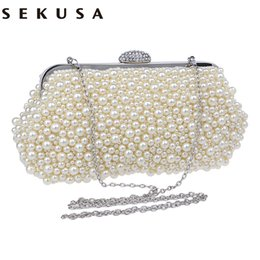 Wholesale Vintage Red Beaded Clutch - Full beaded women vintage evening bags imitation pearl shell shaped women bag shoulder bags diamond clutch bag for wedding purse