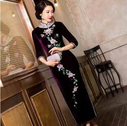 Wholesale Vintage Embroidered Cheongsam - Long Green Pleuche Traditional Qipao Women's Chinese Cheongsams Velvet Vestido Oriental Sequins Embroider Dress Qi Pao Cheongsam