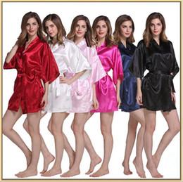 Wholesale Cardigan Pajamas - Sexy Imitation silk pajamas pure color bathrobes cardigan rituals bridesmaid dress bathrobe hot spring party stockings pajamas YYA149