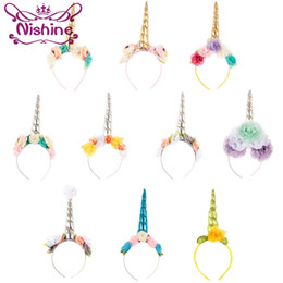 Wholesale Color Hair Bands - Nishine Cute Children Baby Unicorn Hair Band Chiffon Rose Flower Girls Party Hairbands Unicorn Horns Hair Accessories