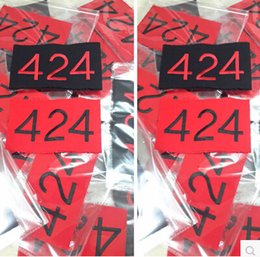 Wholesale Fashion Accessory Applique - Free Shipping 424 four two four Letters Print Men Arm Warmers   Hip Hop Armbands Black Red Fashion Accessories