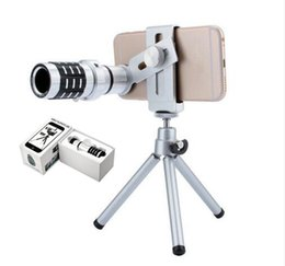 Wholesale 12x Zoom Lens Mobile Phone - Newest Metal 12X Magnification Zoom Optical Mobile Phone Telephoto Telescope Camera Lens With Clip Tripod For iphone 7 7Plus Samsung S8