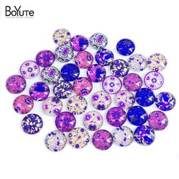 Wholesale Diy Images Flowers - BoYuTe 40Pcs Flower Cabochon 14MM Round Mix Image Cabochon Glass Diy Jewelry Findings Earrings Blank Cover XL5765