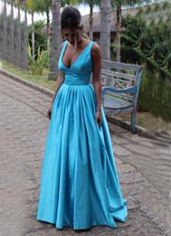 Wholesale Spagetti Evening Dress - 2016 Simple Style Deep V-Neck Prom Dress Fashionable vestido festa A-Line Floor Length Satin Spagetti Evening Vestidos de Formatura