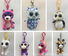 Wholesale Husky Toys - Ty Beanie Boos Big Eyes Plush Clip Leopard Octopus Raccoon Unicorn Owl Cat Huskies Stuffed Animals Key Chain Kids Toys 8CM