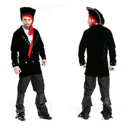 Wholesale Pirate Costume Jack Sparrow - Wholesale-Halloween Adult Men Women Couples Lovers Caribbean Pirate Costumes Uniform Fancy Dress Pirate Captain Jack Sparrow Costume Cosplay