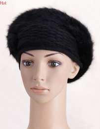 Wholesale Girl Beret Flower - New Fashion Solid Color Real Fur Wool Winter Women Girl Beret French Flower Beanie Hat Winter Ladies Knitted Cap For Female Colors SV011987