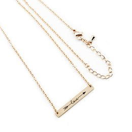 Wholesale Steel Lettering - Wholesale 10Pcs lot 2017 New Promotion Stainless Steel Jewelry Pendant Geometric Bar Lettering Arrow & Love Statement Necklaces Wedding Gift