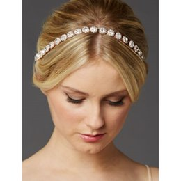 Wholesale Ivory Headbands - Crystal Bridal Headband with A Glass Crystals and Ivory Ribbon Wedding Bridal Hair Accessory 2017 New Style