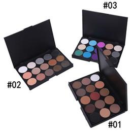 Wholesale Makeup For Blue Green Eyes - Wholesale-1pcs Natural 15 Colors Eye shadow Comestic Long Lasting Makeup Eyeshadow Palette Matte Brand For Women 6 patterns Choose 15color