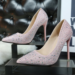 Wholesale Cheap Sequin Shoes Women - 2016 Cheap Summer Women low cut Pumps Lady rhinestones Silver Black Pink Blue bottom High heel shoes for Female wedding bride dress v shoes