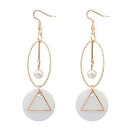 Wholesale Long Stone Drop Earrings - Fashion Shell Pearl Quartz Stone Drop Earrings Triangle Circular Long Dangle Earrings For Women Sister Gifts Vintage Ear Jewelry