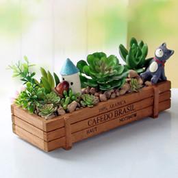 Wholesale Vintage Green Planter - Garden Plant Pot Decorative Vintage Natural Flower Planter Succulent Wooden Case Rectangle Table Flower Pots Gardening Device