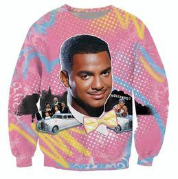 Wholesale Air 3d - Wholesale-Hip hop 3D hoodies So Fresh Carlton print crewneck sweatshirt Alfonso Ribeiro Fresh Prince Bel Air sweats tops plus size S-3XL