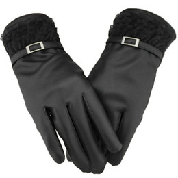 Wholesale Soft Leather Driving Gloves - Wholesale- 2016 New Winter Gloves Women Touch Screen Winter Gloves Soft Leather Mitten Warm Driving Gloves Mittens Hand Warmer For Big Sale