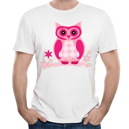 Wholesale Cool Cheap Tees - Men Clothing Tees Cheap For Men Cool Red Owl Print T-Shirt 2017 New Summer Autumn Tees For Cool Style Men's T-shirts