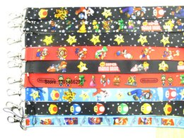 Wholesale Mario Cell Phone Charms - Wholesale-Free shipping 20 Pcs  Wholesale lot Mix Super Mario Necklace Strap Lanyards Cell Phone PDA Key ID Strap Charms L274