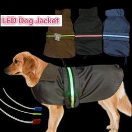 Wholesale Lead Jacket - Pet Fashion Series Dog accesseries large dog jackets waterproof Vest LED flashing strap 3 colors 7 sizes