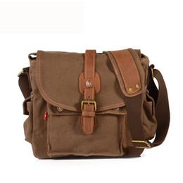 Wholesale Vintage Satchel Bags For Men - Men's Single Shoulder Bag Vintage Crazy Horse Leather Canvas Shoulder Bag for Men Canvas Messenger Bags Bolsa De Mensajero 9144