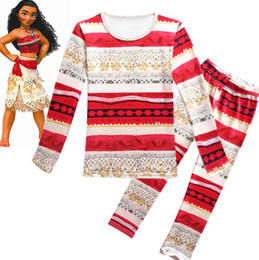 Wholesale Kids Girls Sleepwear Long Sleeve - moana kids clothing set maui Pajamas baby girl outfits kids sleepwear nightwear homewear Moana Clothing Sets KKA2377