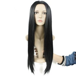 Wholesale Long Hair Wigs Smooth - Hot Fashion Celebrity Rihanna Silky Hairstyle Wig Long Soft Smooth Straight Black Hair Lace Front Wigs for Black Women Machine making wig
