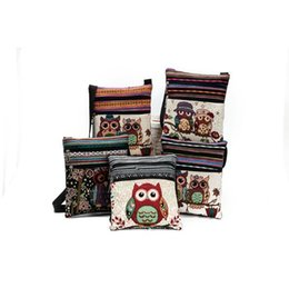 Wholesale wholesale canvas bag - Canvas Owl Shoulder Bags cartoon Casual Messenger bag Owl folk-custom Striped bag 4 style top quality