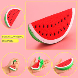 Wholesale Soft Toy Fruits - Wholesale New Squishy Kawaii 14.5cm Jumbo Watermelon Super Slow Rising Squeeze Soft Stretch Scented Bread Cake Fruit Fun Kids Toys Gift