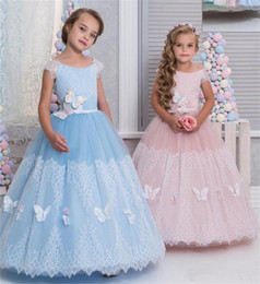 Wholesale Organza Butterfly Flower Girl Dress - Christmas Lovely Flower Girls Dresses Children Scoop Cap Sleeves A Line butterfly Appliques Lace Kids Birthday Dress Gilrs Pageant Dress